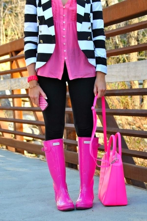 Bright Pink Hunter Boots 2